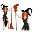 Young blonde witch in a hat with broom Halloween vector image vector image