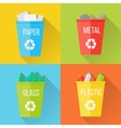 Color Recycle Garbage Bins with Glass vector image