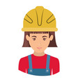 colorful portrait half body of female worker with vector image