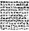 125 high quality diferent animals silhouettes vector image