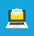 accepted email in envelope vector image vector image