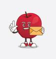 apple cartoon mascot character holding an envelope vector image vector image