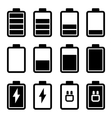 Battery Black Icons vector image vector image