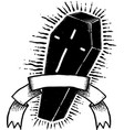 black coffin mystery vector image