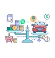 Car and money on scales vector image vector image