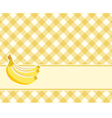 Checkered yellow background with bananas vector image vector image