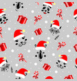 christmas pattern animals cute mordochki with new vector image vector image