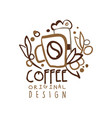 coffee to go hand drawn original logo design with vector image