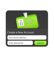 Create a new account form with green ID card vector image vector image