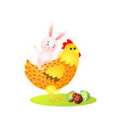 cute happy easter rabbit ride on gold chicken vector image vector image