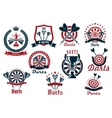 Darts game sporting club icons vector image vector image