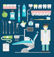 dentist symbols set health care medicine vector image vector image