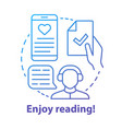 enjoy reading blue concept icon passionate vector image