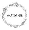 feather wreath black and white vector image vector image