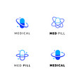flat line medicine icons blue and green emblem vector image