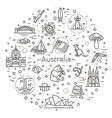 graphic set australian culture animals vector image vector image