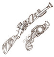 Hand drawn vintage weapons outline isolated on
