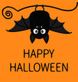 happy halloween bat hanging cute cartoon baby vector image