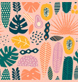 hawaiian contemporary floral tropical seamless vector image vector image