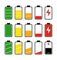 icon set battery level indicators vector image vector image