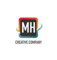 initial letter mh swoosh creative design logo vector image vector image