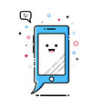mobile phone mbe style kawaii icon vector image