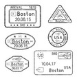 passport stamps arrival to boston usa black set vector image vector image