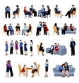 Problematic families counseling flat icons set vector image vector image