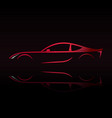 red sports car silhouette on black background vector image