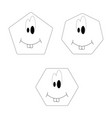 set black and white facial cheeks on white vector image