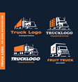 set of four logo with truck and trailer vector image vector image