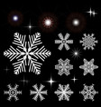 set of snow-flakes and flashing outbreaks vector image
