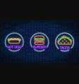 set of three neon glowing signs of burger hot dog vector image vector image
