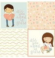 Set with cute kids card and seamless pattern vector image vector image
