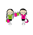 Shopping with friends Girls with bags vector image vector image