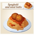 spaghetti and meat balls detailed icon vector image vector image