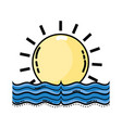 sun with water flood natural disaster vector image vector image