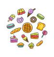sweet dessert hand drawn vector image vector image