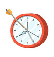 target with bow arrow and clock vector image
