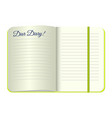 template open a blank notepad with the words dear vector image
