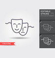 theatrical mask line icon with shadow and vector image vector image