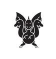 three-headed snake black concept icon vector image