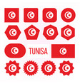 tunisia flag collection figure icons set vector image vector image