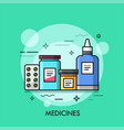 various medicines - pills in blister nasal spray vector image