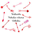 watercolor valentine arrows collection vector image