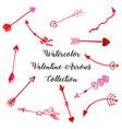 watercolor valentine arrows collection vector image vector image
