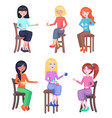 young women seating on chairs flat set vector image