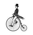 man on retro vintage old bicycle engraving vector image