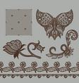set of decorative elements lace patterns vector image