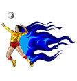abstract female volleyball player fire power vector image vector image